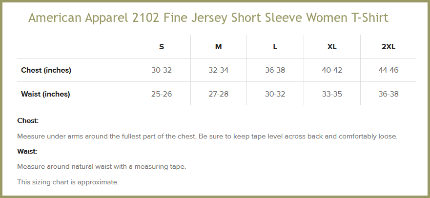 American Apparel 2102 Size Chart
