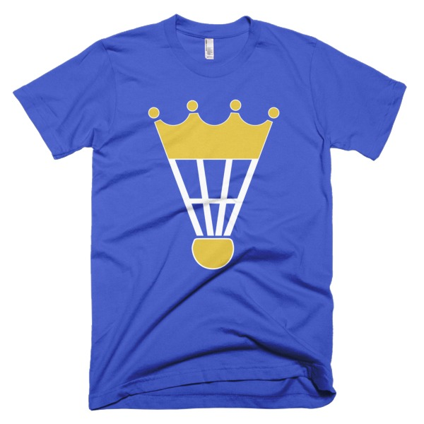 blue tshirt with a shuttlecock and crown top