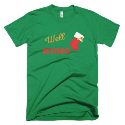 tshirt that says well hung with a picture of a christmas stocking