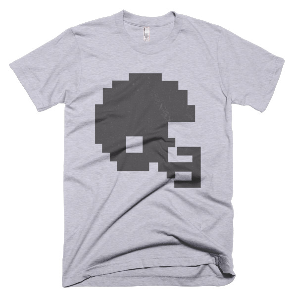 gray tecmo bowl football helmet t-shirt