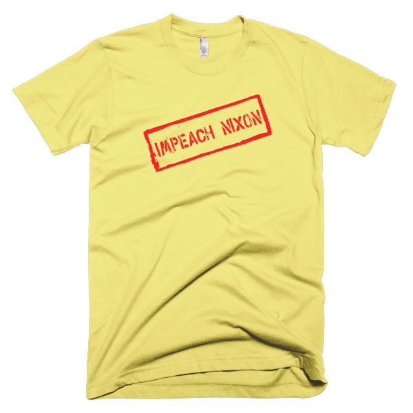 yellow tshirt that says impeach nixon