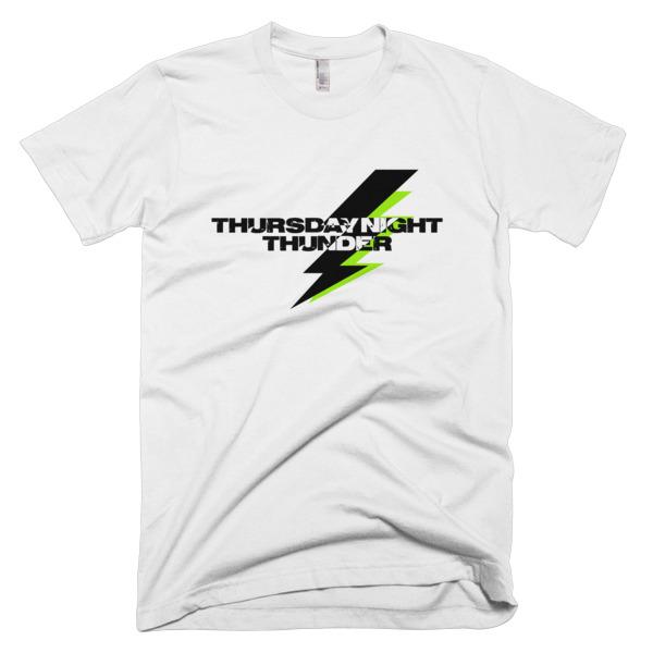 white tshirt that says thursday night thunder